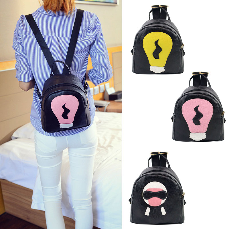 New Mini Backpack Tide Small Super Lovely Light Bulb Stitching Women Shoulder Casual Travel BagNew Mini Backpack Tide Small Super Lovely Light Bulb Stitching Women Shoulder Casual Travel Bag