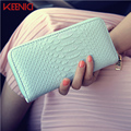 New Big Capacity Ladies Patent Leather Crocodile Long Purses High Quality Patent Pu Leather Women Wallets Luxury Zipper Day Clut