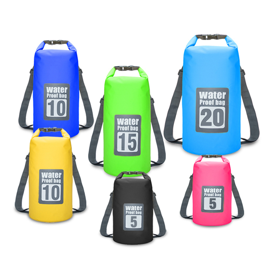 5L/10L/15L/20L Waterproof Water Resistant Dry Bag Sack Storage Pack Pouch Swimming Kayaking Canoeing Fishing Double Straps