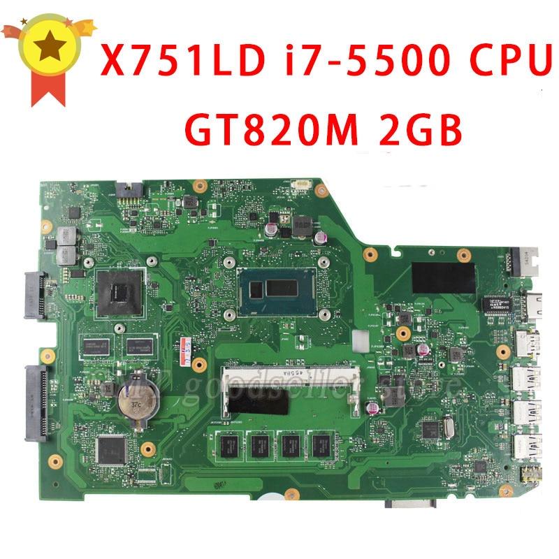 все цены на For ASUS R752L R752LD R752LN X751L X751LD X751LDV X751LN K751LN Motherboard Processor i7-5500 GT820 2G REV2.0 Mainboard tested онлайн