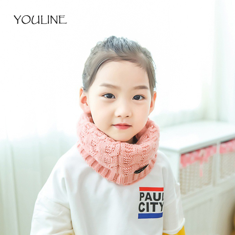 YOULINE Autumn Winter Cotton Baby Scarf Children Girls Boys Kintted Wool O-Scarves Chidren Kint Solid Color Warm Scarf S17243