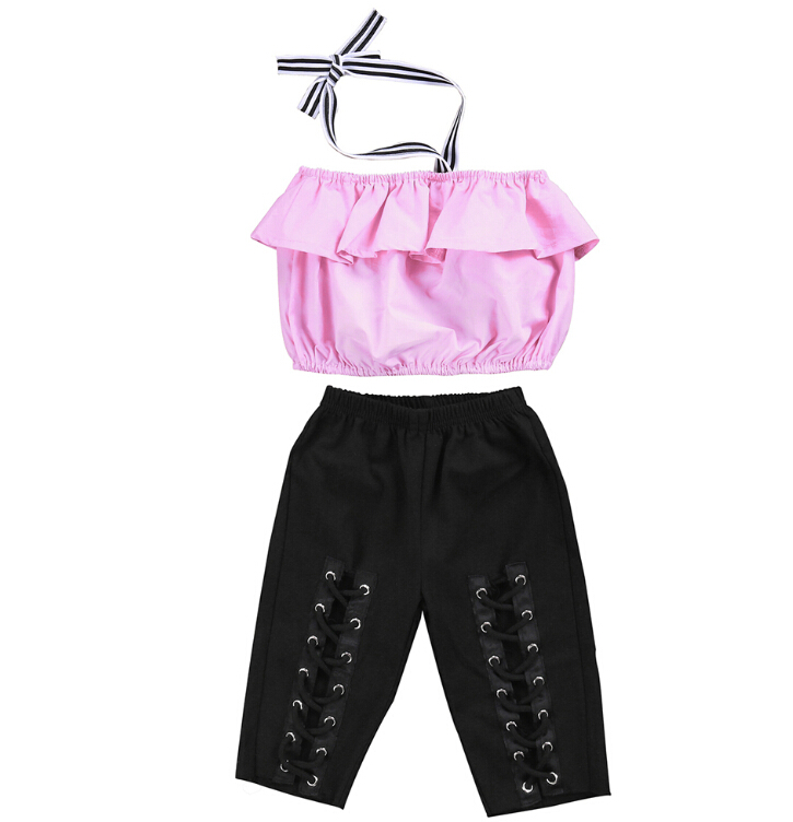 3PCS Set Toddler Baby Kids Girls Clothes Sets Tops Sleeveless Pants Jeans Hole Cut Headband Girl Clothing Outfits 1-6T 3 pcs set girls baby clothing sets sleeveless shirt tops floral pants headband vogue clothes 2 6 year hot selling