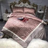 Leopard Print Lace Patchwork Bedding Set Twin Queen King Size Quilt Cover Bed Sheets with Pillowcase Satin IMITATED SILK FABRIC