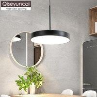 Qiseyuncai Nordic restauracja w stylu pojedyncze głowy żyrandol kreatywnych nowoczesny minimalistyczny okrągły macaron kutego żelaza lampa do salonu w Wiszące lampki od Lampy i oświetlenie na