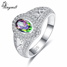 lingmei Wholesale Luxury Fashion Gorgeous Jewelry Oval Cut Red & Rainbow White Cubic Zirconia Silver Ring Size 6 7 8 9 Gift