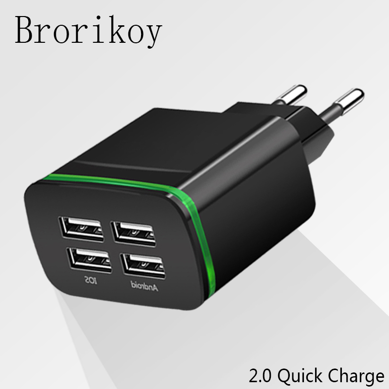 4 Ports USB Wall Charger Smart Travel Adapter Portable Mobile phone Fast Charging for iP ...
