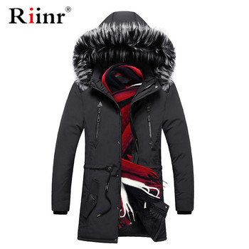 Riinr Winter Men Warm Thick Parkas 2019 Winter Male Jacket Padded Casual Hooded Parkas Men's Fashion Parkas Overcoats Clothing фото