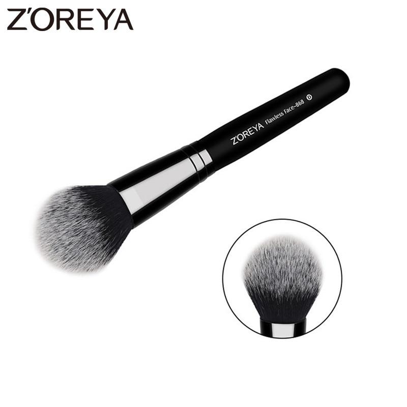 ZOREYA Brand Flawless Face Brush Super High Quality Fiber Hair Black Wooden Handle Powder Blush Bronzer Brushes For Ladies
