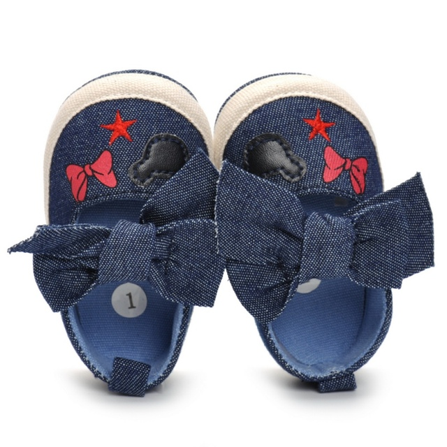 2019 Cute Shoes Baby Canvas Print Baby Shoes Moccasins Cute Bow Soft Sole Prewalkers Summer Toddler Infant Girls Shoes 2018 4