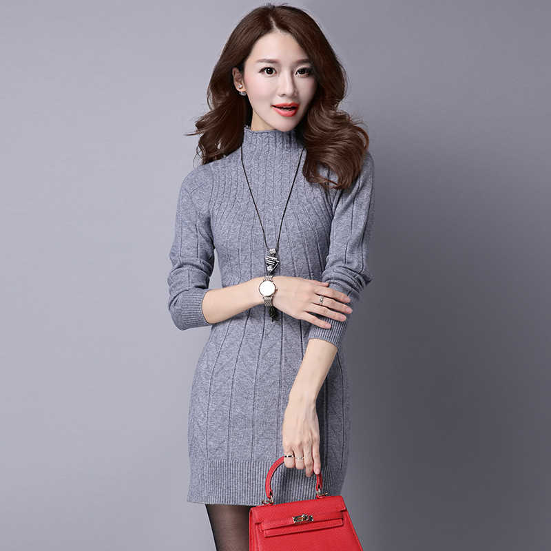 b7c61a04a4e Осень-зима свитер Мини вязаный женский свитер платье Теплый женский свитер  и Пуловеры сексуальный тонкий
