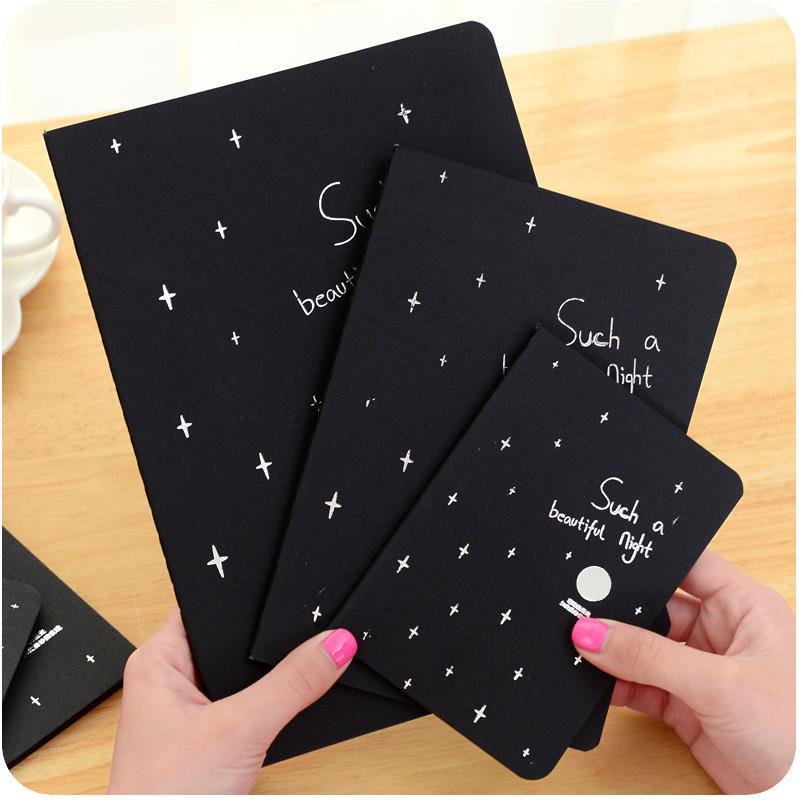 1 Pc Schwarz Papier Sketch Kugel Journal Nette Notebook Papier Wöchentlich Planer Zubehör Schreibwaren Tagebuch Agenda Reise 01630 Notebooks