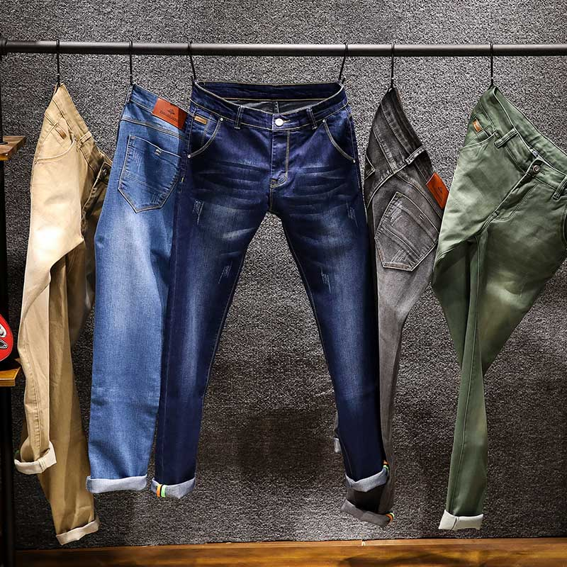 AIRGRACIAS Brand 2019 New Jeans Men Business Casual Stretch Slim Jeans 5 Color Classic Trousers Denim Pants Jean Men