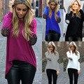 Moda otoño mujeres asimétrica Tops de lentejuelas de manga larga alto bajo camiseta irregulares suelta Tees larga blusa Plus Size S-XXL XXXL