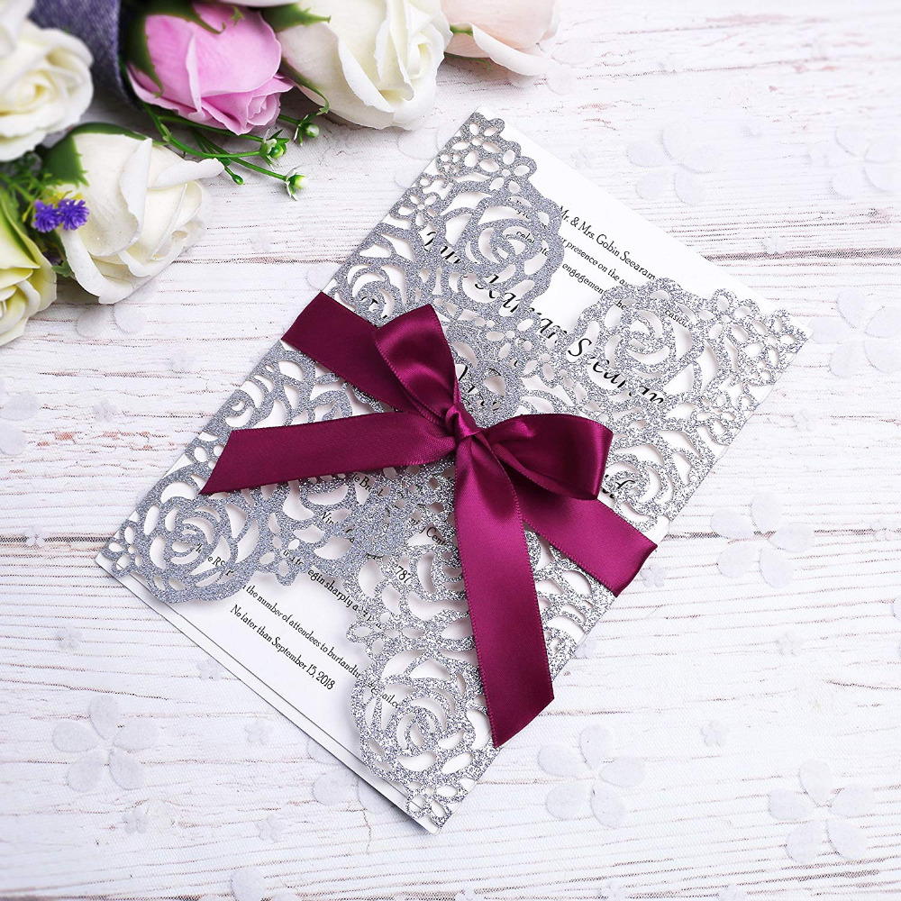 PONATIA 20 PCS Silver Glitter Laser Cut Bling Invitations Card With ...