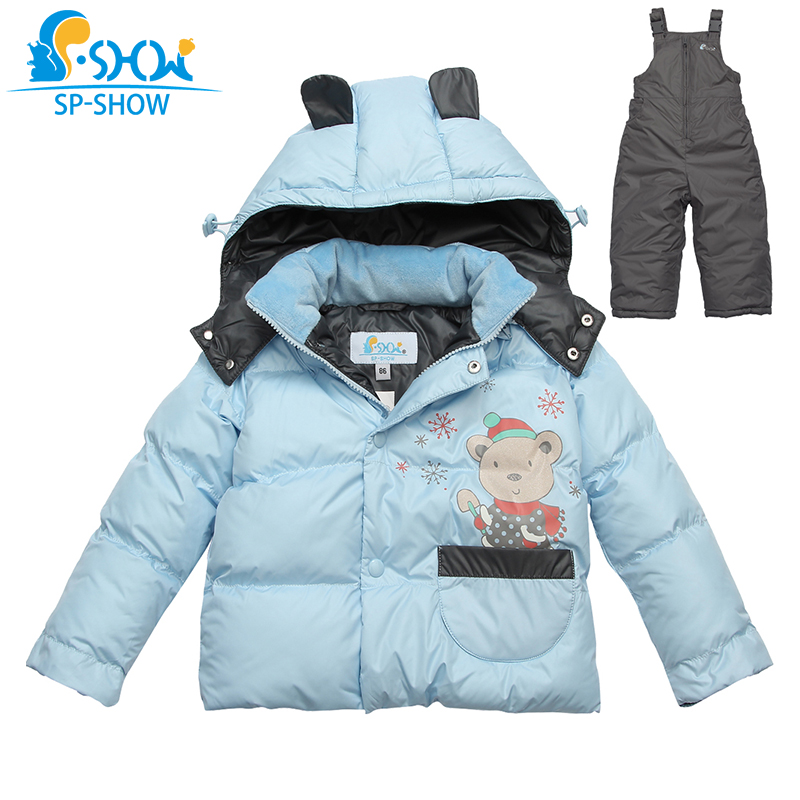 New Winter Children Clothes sets Boy And Girl Baby duck down Jacket Thick Warm lining fleece Hooded Two-Piece Down Coat 83250 stylish two color match lenses hipsters sunglasses for unisex aviator