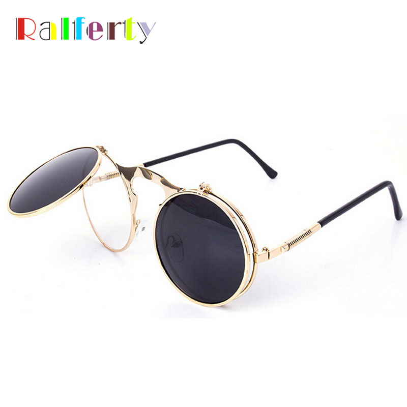 Ralferty Retro Steampunk Googles Vintage Runde Flip Up Sonnenbrille Frauen Clip Auf Sonnenbrille Männer Metall Punk Sonnenbrille Männliche Oculos