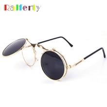 Retro Steampunk Googles Vintage Round Flip Up Sunglass Women Mens Circle Clip On Sunglasses Metal Punk Sun Glasses Oculos
