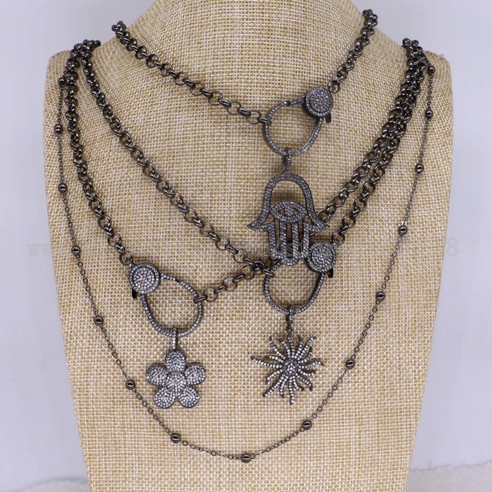 """Collier de mode 3 brins bijoux en gros bijoux fantaisie micro pavé 44 """"long collier bijoux pour femmes mix style 3337-in Colliers chaîne from Bijoux et Accessoires    1"""