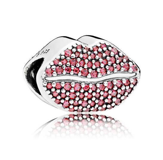Newest Winter Pave Red CZ Lips Charms Beads Fit Orignal Pandora Charm Bracelet 925 Sterling Silver DIY Jewelry Making Gift