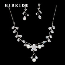 HIBRIDE White Gold Color Flower Clear Cubic Zirconia Pearl Jewelry Sets For Women Wedding Party Gifts Dress Accessories N-262(China)