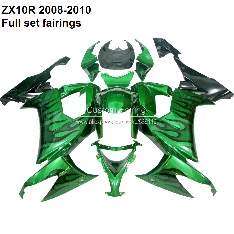 Customize ZX10R 2008 For Kawasaki Ninja ZX 10R 08 10 2008 2009 2010 green fairing kit fairings [XX006]