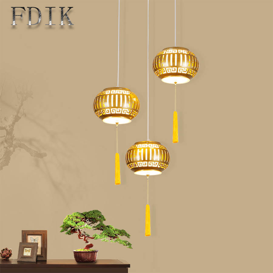 Lantern Shape Dining Pendant Lights Energy saving No flicker Tricolor Dimmable Chinese Style Restaurant Teahouse Decoration Lamp