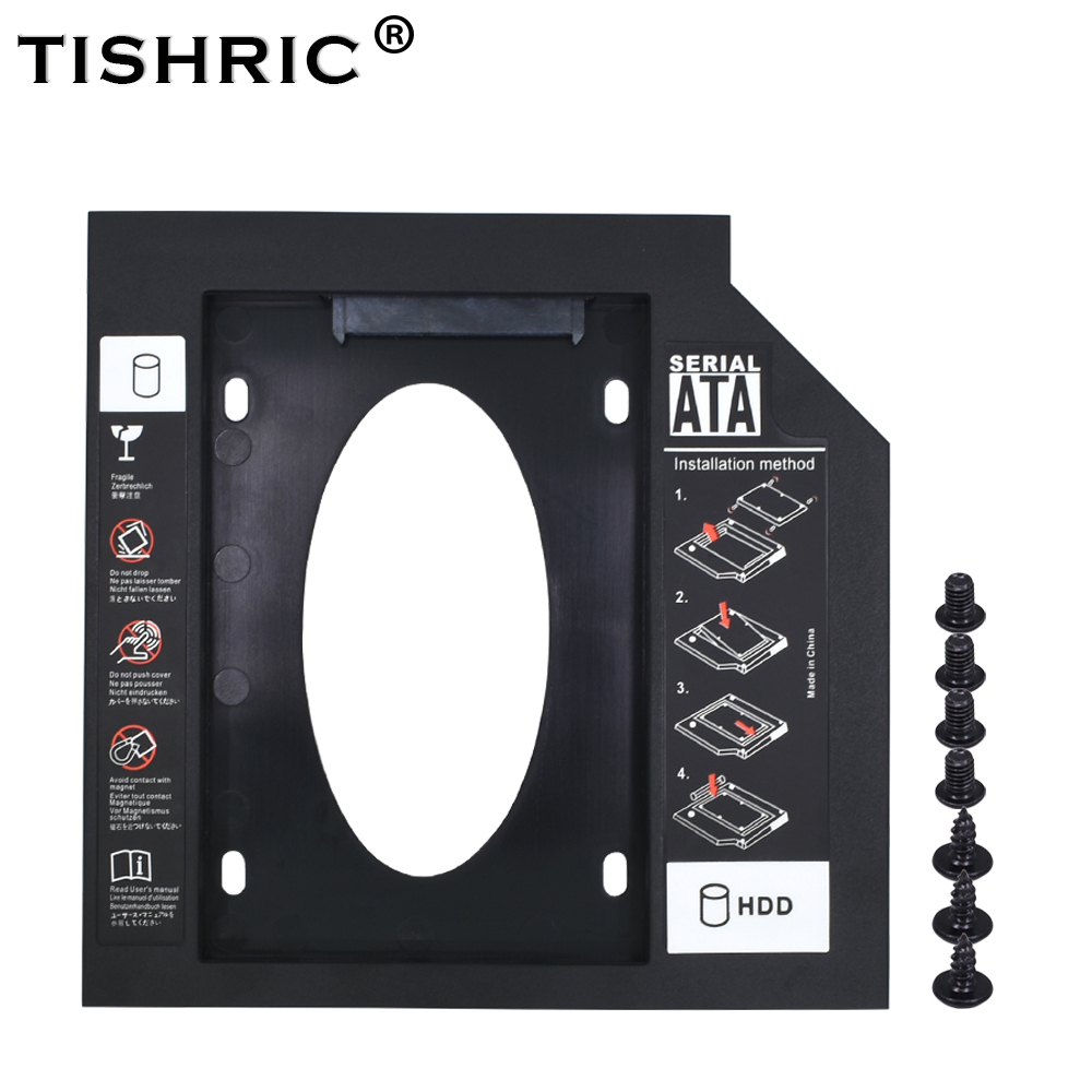 TISHRIC New Plastic Optibay 2nd Second Hdd Caddy 9.5mm SATA 3.0 For 2.5'' SSD DVD CD-ROM Enclosure Adapter Hard Disk Drive Case