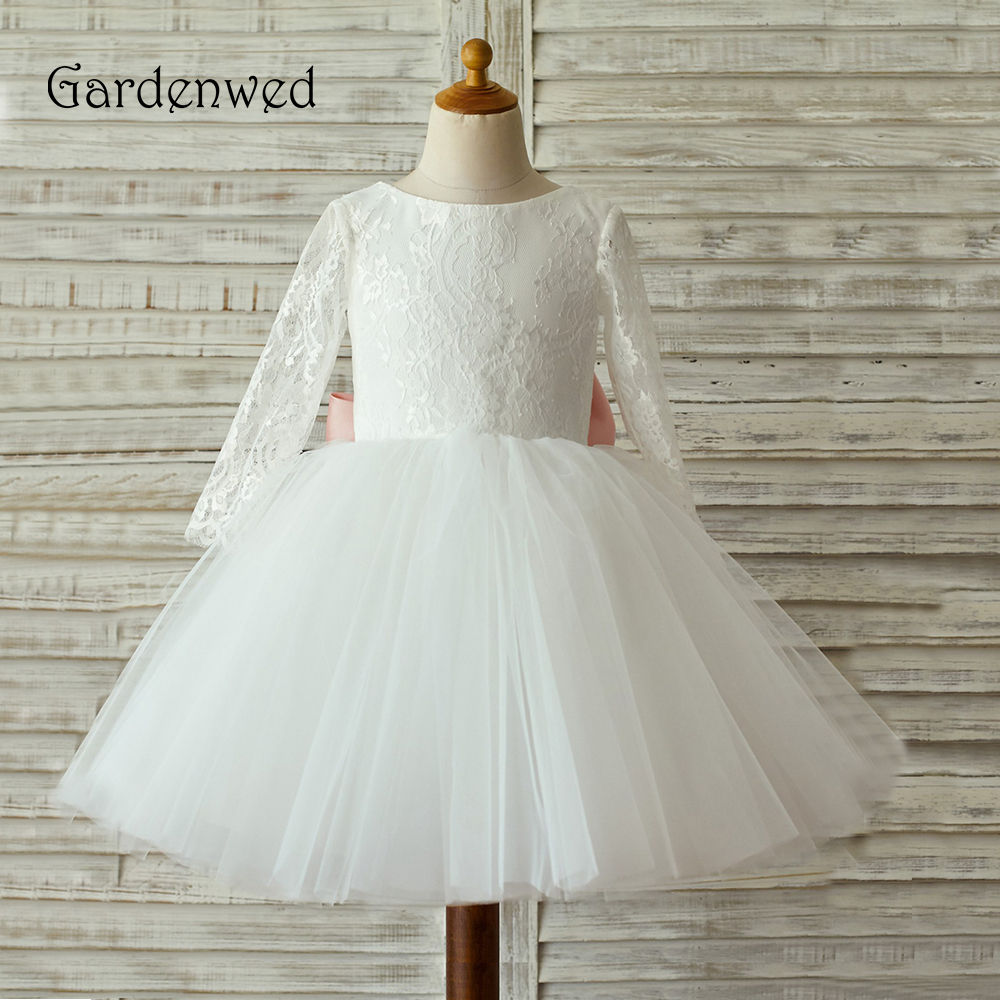 Gardenwed 2019 White Lace   Flower     Girl     Dress   For Weddings Long Sleeves First Communion   Dresses   For   Girls   Birthday Party