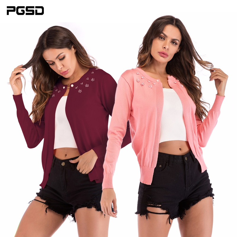 PGSD New Autumn winter Simple Fashion Women Clothes Nail beads a button-up O-neck knitted Long sleeves sweater cardigan female