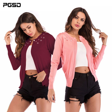 PGSD New Autumn winter Simple Fashion Women Clothes Nail beads a button-up O-neck knitted Long sleeves sweater cardigan female button up v neck flat knitted cardigan
