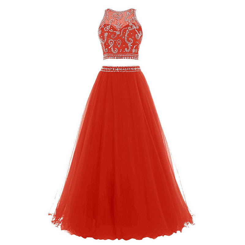 U-SWEAR 2019 Prom Dress Two Pieces Sleeveless O-Neck Beading A-Line Red Evening Dresses Formal Party Wear vestidos de fiesta