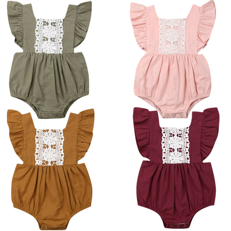 HTB1HbgPQMHqK1RjSZJnq6zNLpXah Kids Baby Girl Solid  Summer Clothes Lace Romper Backless Button Jumpsuit Outfits Baby Clothing