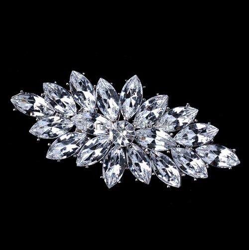 Rhodiový stříbrný tón vintage stylu Marquise Crystal Diamante Party Brož
