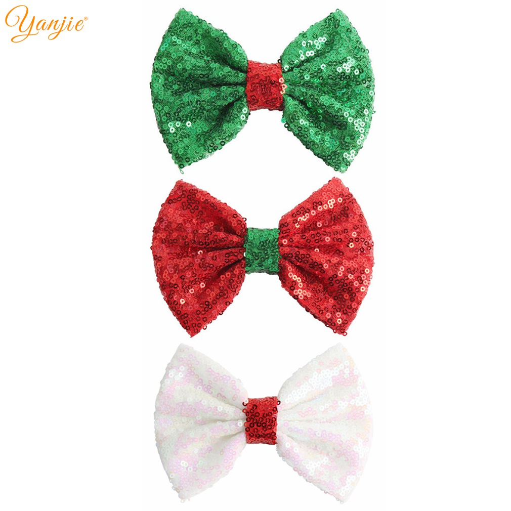Large Hair Bow Clip Bobble Headband Girls Red Minnie Fabric Hair Bows