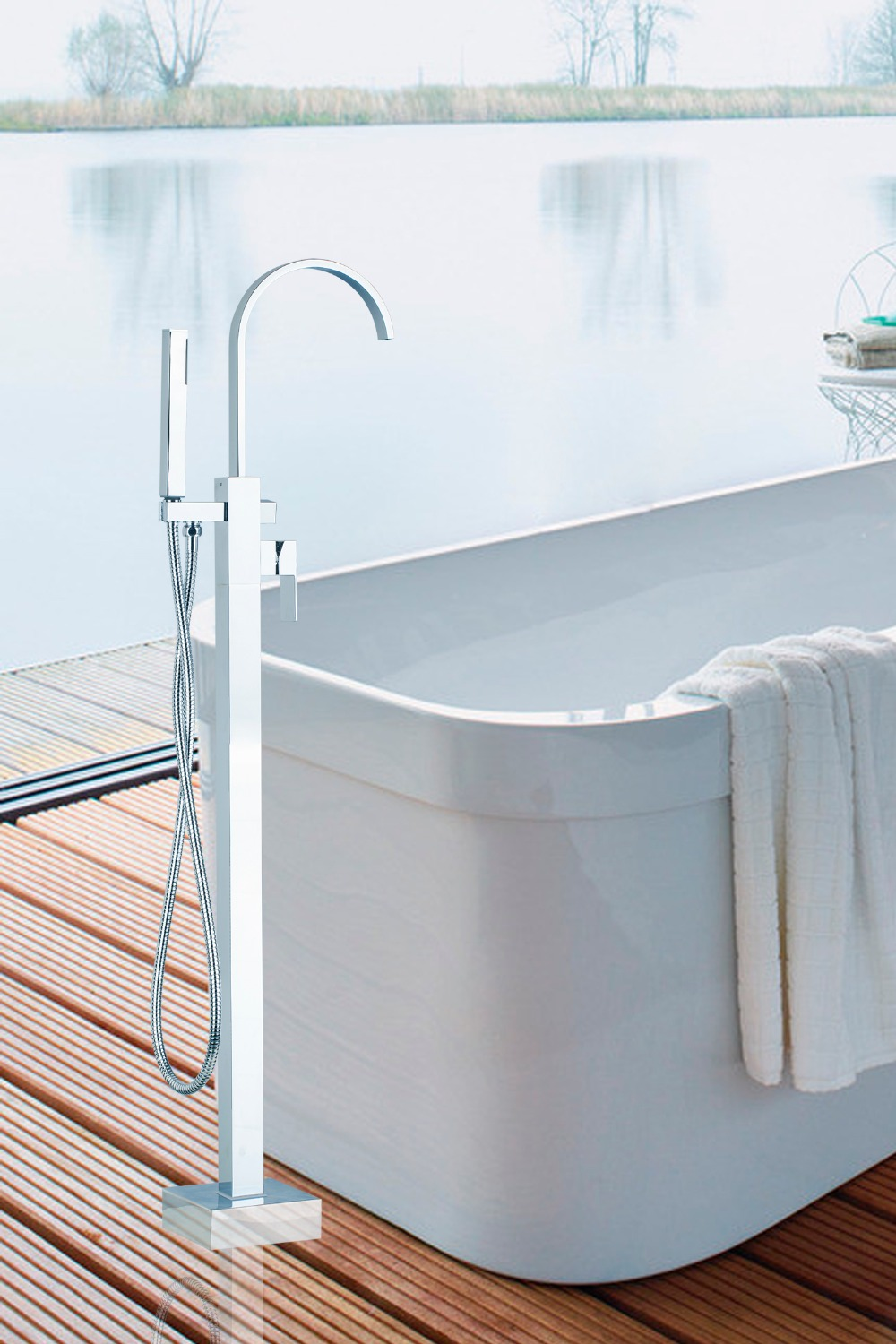 OUBONI Floor Mounted Tub Filler Faucet with Hand Shower Chrome ...