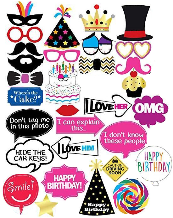 31Pcs 30th 40th <font><b>50th</b></font> Happy <font><b>Birthday</b></font> Photo Booth Props Mask Photobooth 30 Years Adult Party <font><b>Decoration</b></font> Photobooth <font><b>Birthday</b></font> Favors image