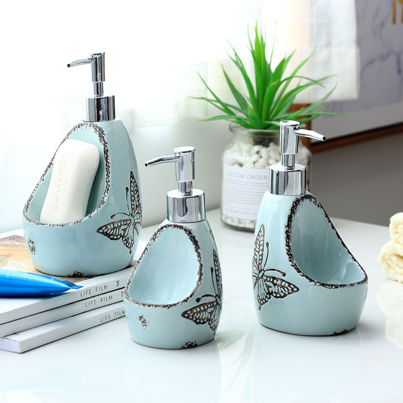 Dual-use Ceramic Liquid Soap Dispenser Bathroom Lotion Bottle Detergent Hand Sanitizer Bottle With Sponge Storage Rack Mx3201156