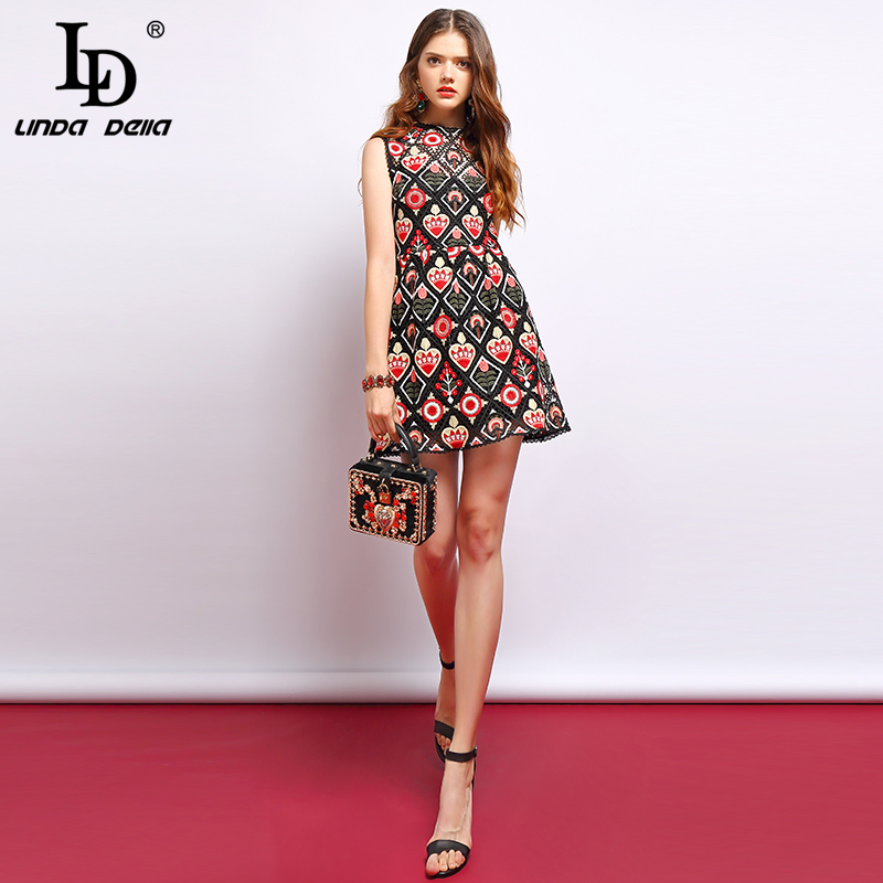 LD LINDA DELLA Fashion Summer Vintage Dress Women s Sleeveless Hollow Out Floral Embroidery Elegant Ladies