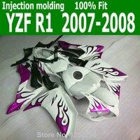 White INJECTION Fairings For YAMAHA YZF R1 07 08 ( Pink / purple flame ) yzfri 2007 2008 fairing kit lx28