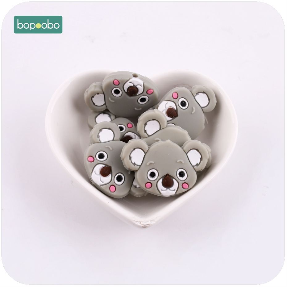 Bopoobo Baby Silicone Accessory Mini Koala 6pc Chewable Beads BPA Free Silicone Teether DIY Crafts Beads Baby Teether