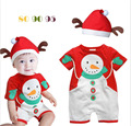 Retail infant Xmas Gift baby boys girls short sleeve Christmas Snowman rompers kid red Christmas romper with hat kids clothes