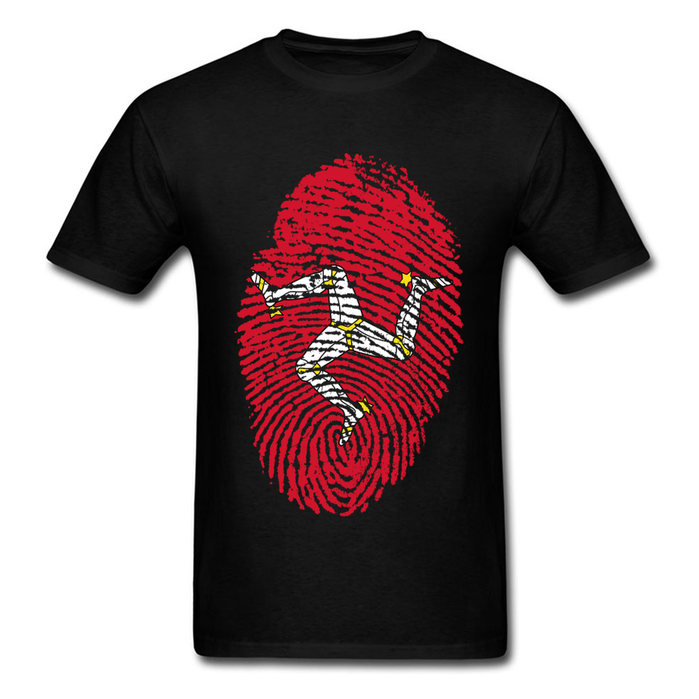 Isle Of Man TT Fingerprint   T     Shirt   Mens Tshirt Cotton   T  -  shirt   Black White Red Clothing Racer Top Game Tee Vintage Style