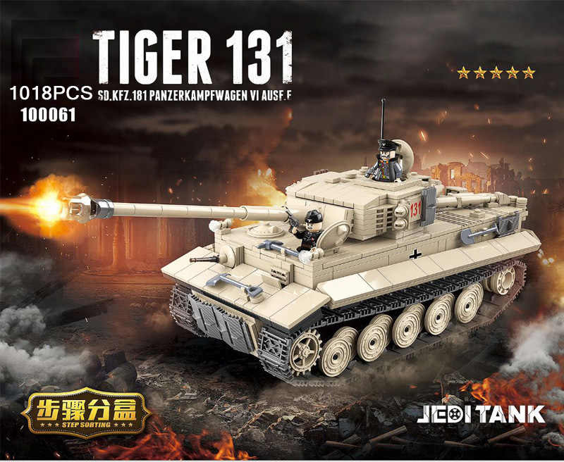 world war germany tiger 131 jedi tank SD.KFZ.181 PANZERKAMPFWAGEN VI AUSF.F batisbricks building block ww2 army minifigs toys
