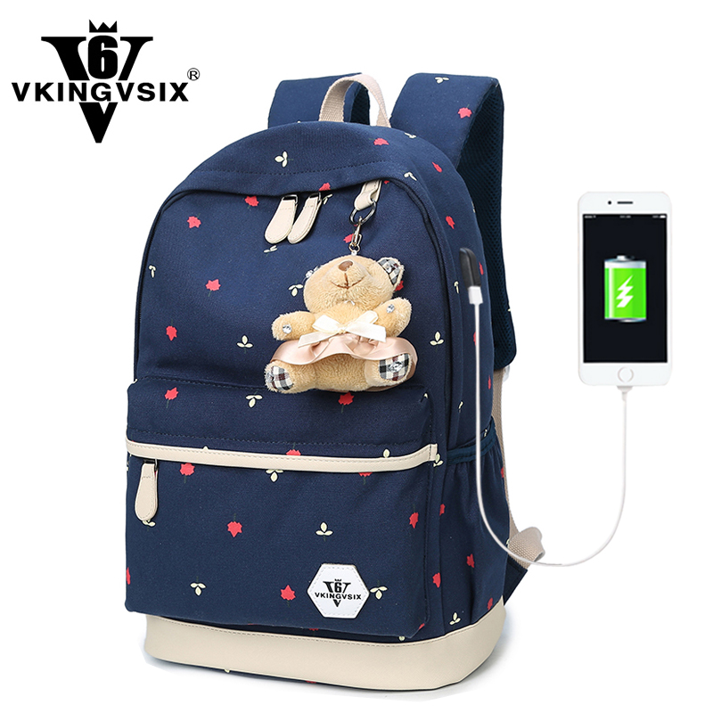 VKINGVSIXV6 Store External Charge USB canvas backpack school bag for teenagers 14-15.6 inch laptop backpack girl mochila escolar Travel Bag Women