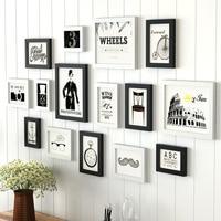 Modern White & Black Wood Frames Set For Home Decor 15 pcs Family Wedding Photo Frame DIY Rectangle Picture Frames porta retrato