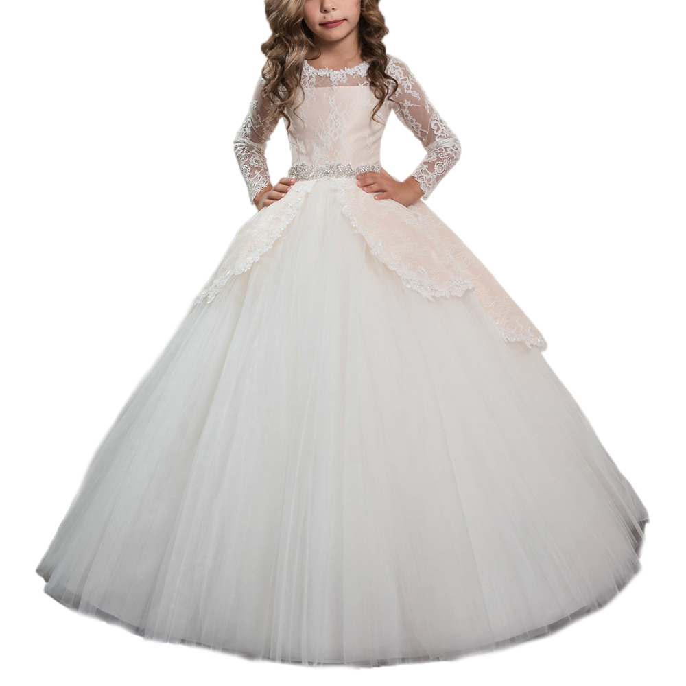long sleeves party dresses for girls beaded sash floor length ball gowns for kids fancy flower girls dresses long sleeves party dresses for girls beaded sash floor length ball gowns for kids fancy flower girls dresses