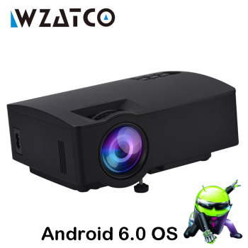 WZATCO Mini LED Projector 1800Lumens Home Theater HDMI support Full HD 1080P 4k online video Android Wifi Smart Beamer Proyector