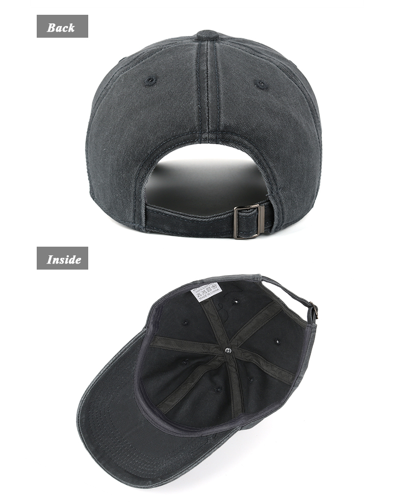 Pre-washed Cotton Denim Baseball Cap - Rear and Inside Views