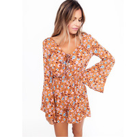 Singwing Printed Women S V Neck Speaker Long Sleeve Jumpsuits Rompers Chiffon Summer Flare Sleeve Ruffles