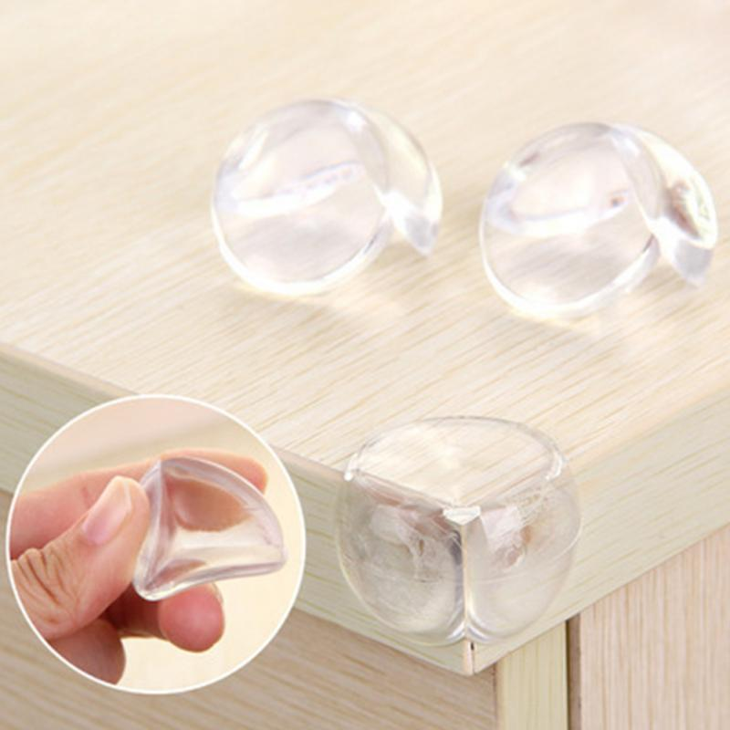 4Pcs Child Kids Safety Soft Silicone Protector Desk Table Safety Corner E Dge Protection Cover Spherical Collision Angle Pads